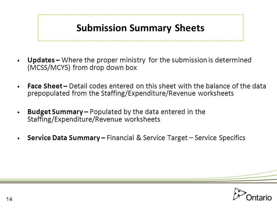 Submission Summary Sheets