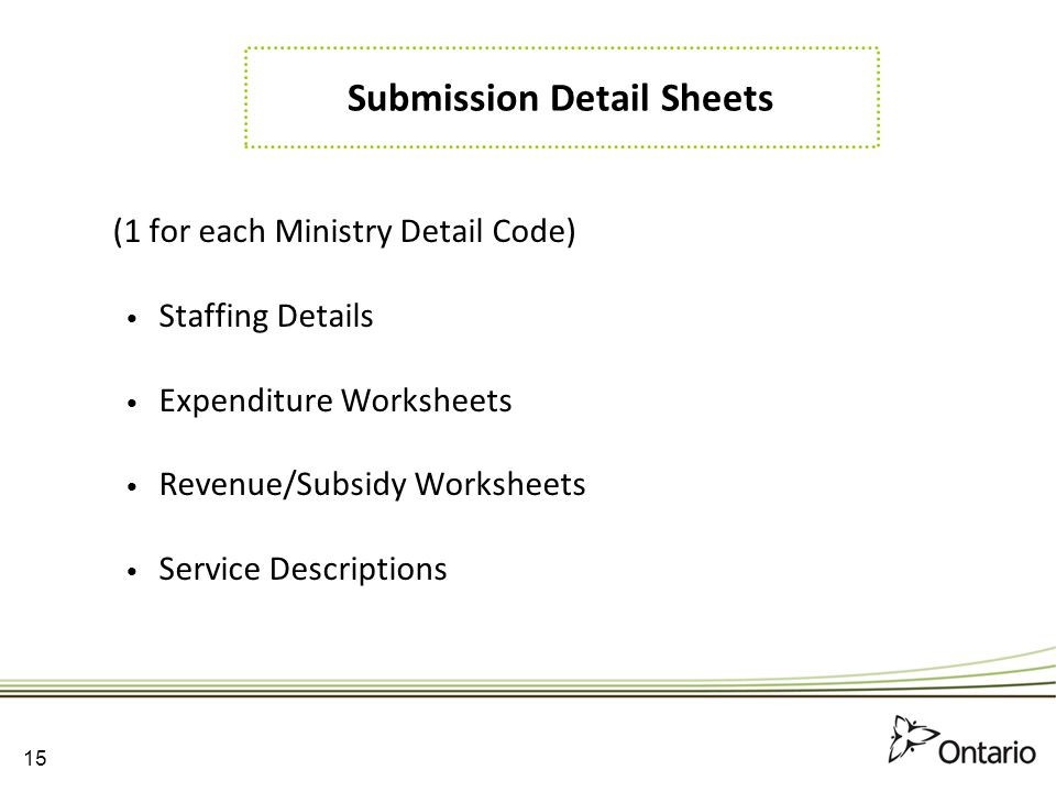 Submission Detail Sheets