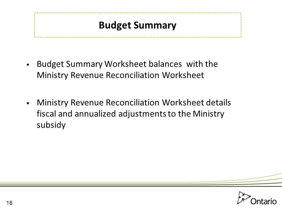 Budget Summary Budget Summary Worksheet balances with the Ministry Revenue Reconciliation Worksheet.