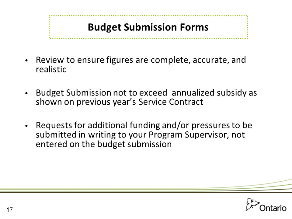 Budget Submission Forms