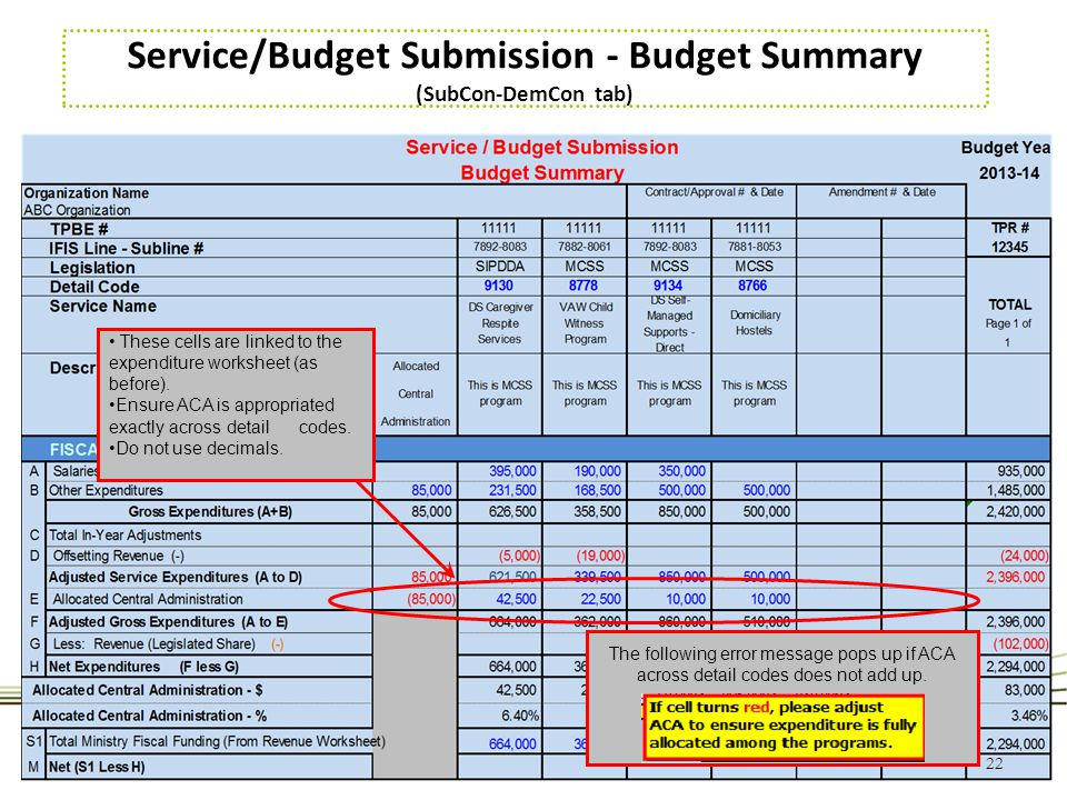 Service/Budget Submission - Budget Summary (SubCon-DemCon tab)