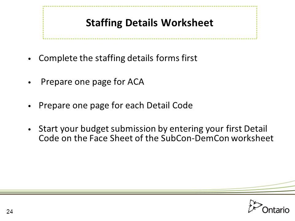 Staffing Details Worksheet
