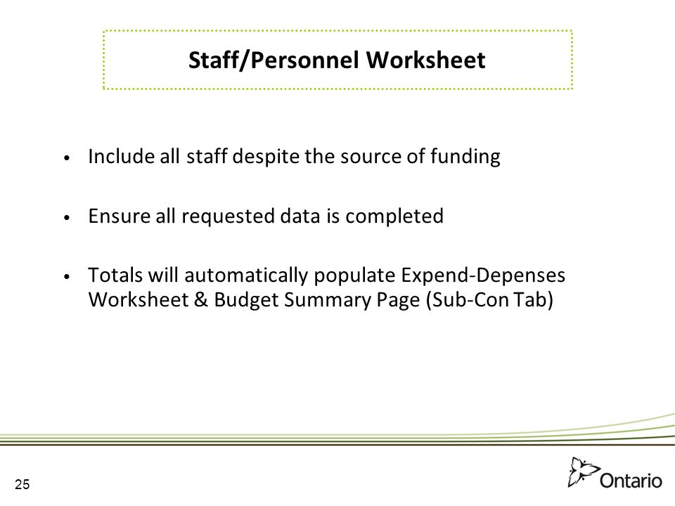 Staff/Personnel Worksheet