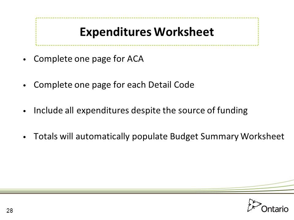 Expenditures Worksheet