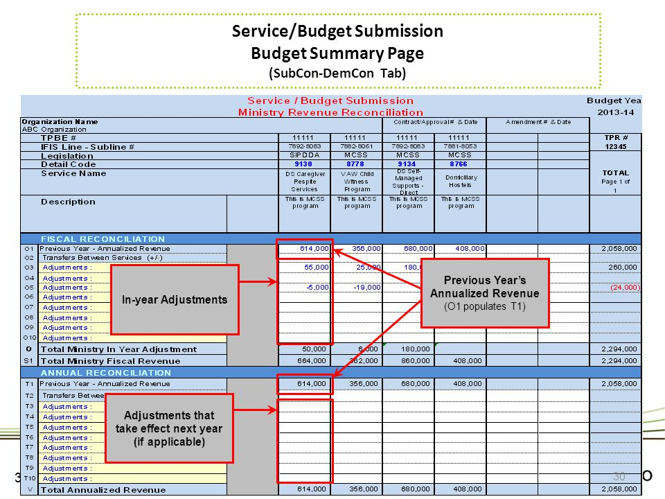 Service/Budget Submission Budget Summary Page (SubCon-DemCon Tab)
