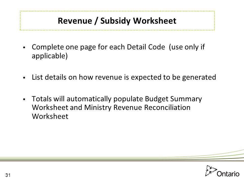 Revenue / Subsidy Worksheet