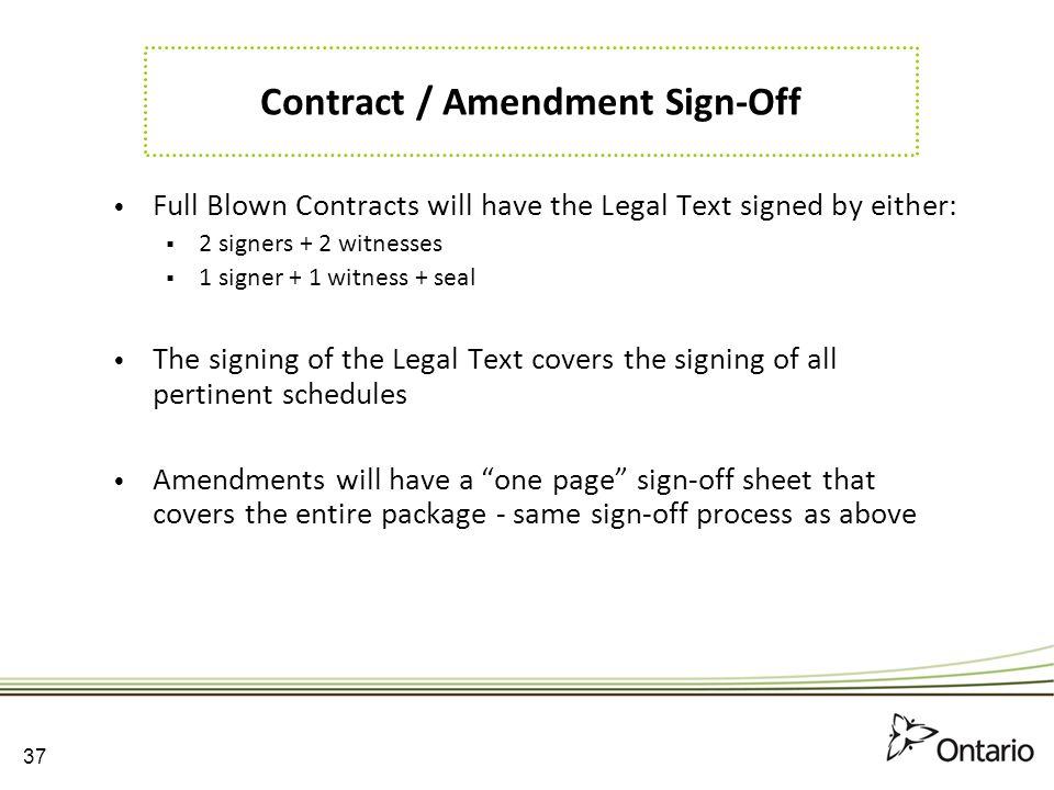 Contract / Amendment Sign-Off