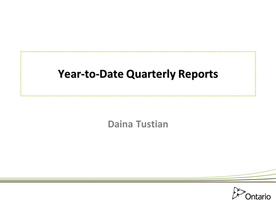 Year-to-Date Quarterly Reports