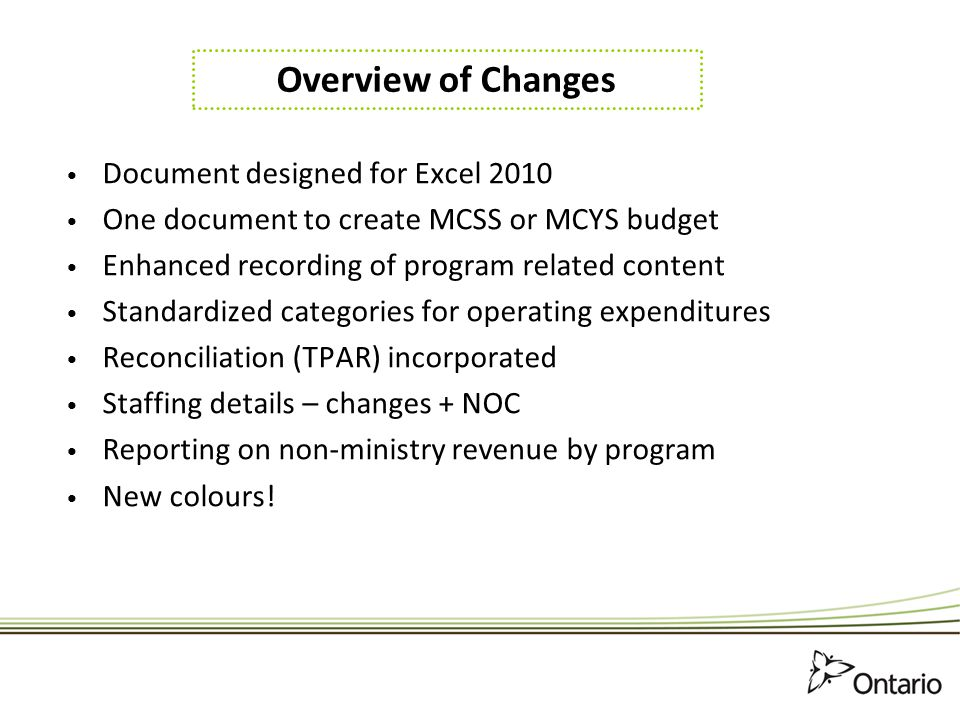 Overview of Changes Document designed for Excel 2010