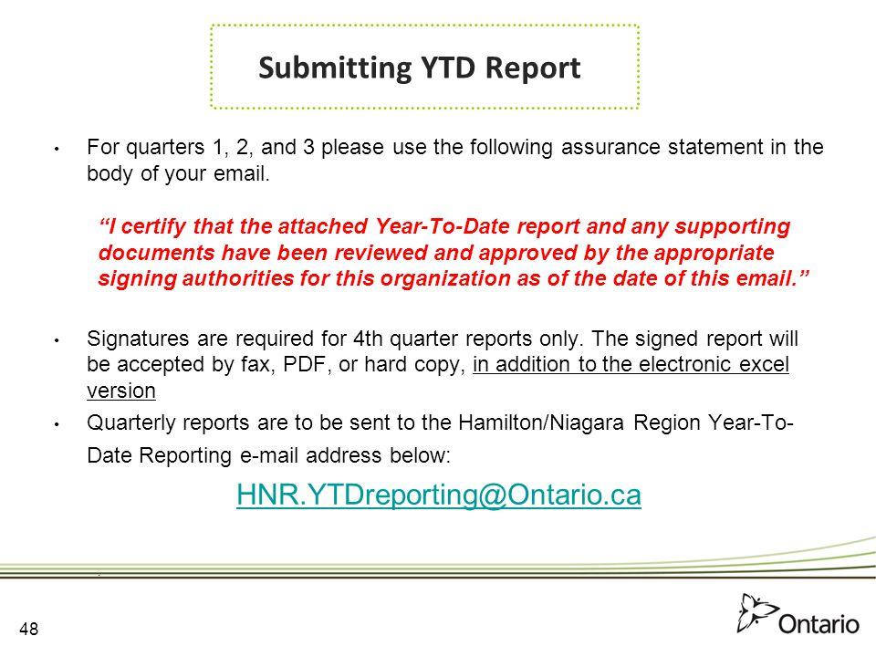 Submitting YTD Report HNR.YTDreporting@Ontario.ca