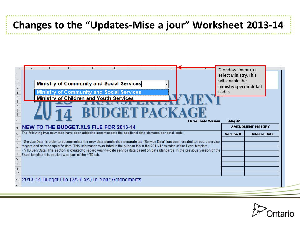 Changes to the Updates-Mise a jour Worksheet 2013-14