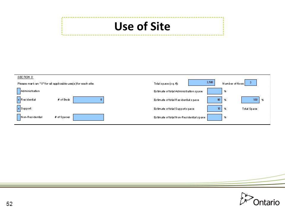 Use of Site 52 52