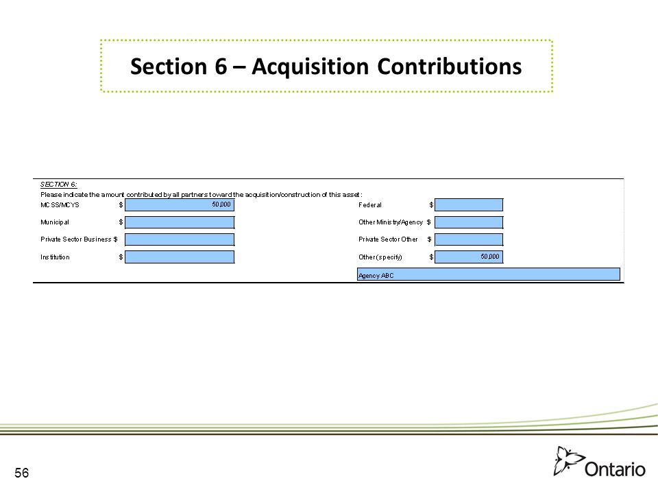 Section 6 – Acquisition Contributions
