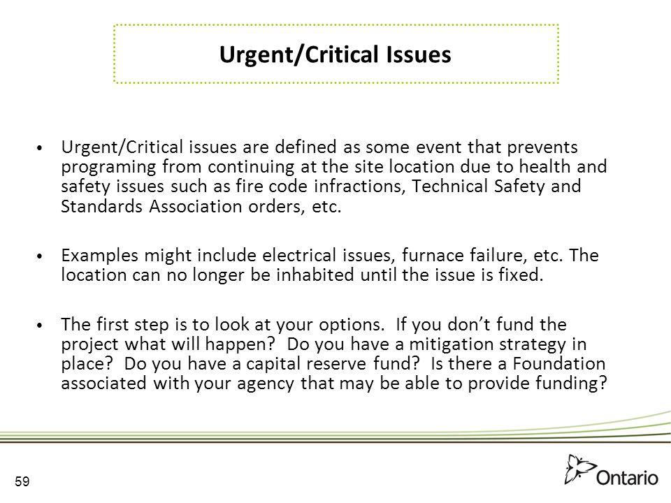 Urgent/Critical Issues