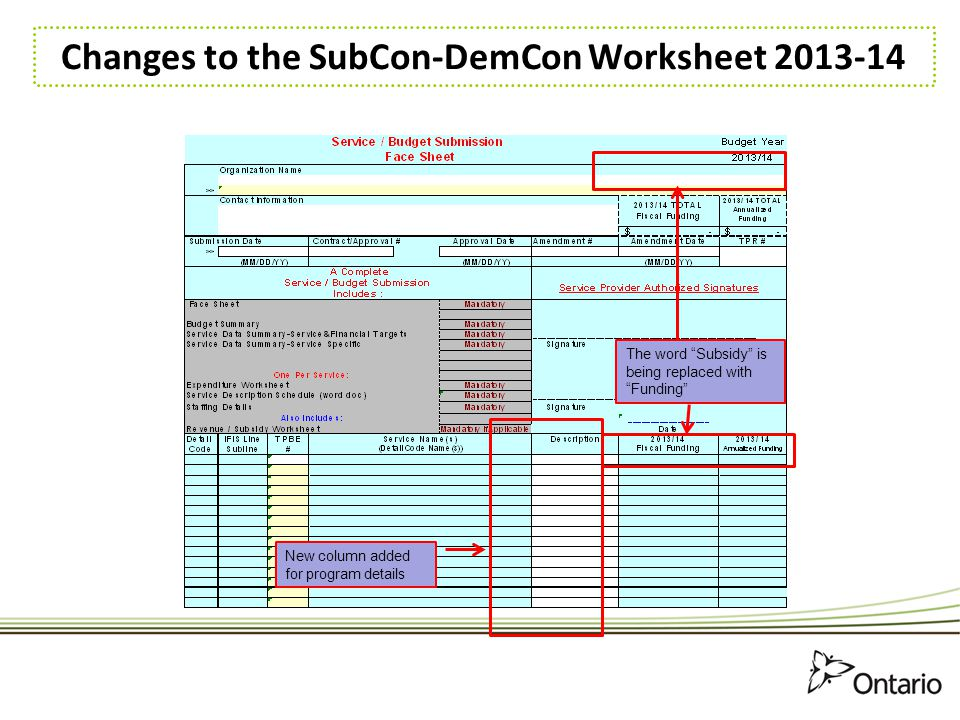 Changes to the SubCon-DemCon Worksheet 2013-14