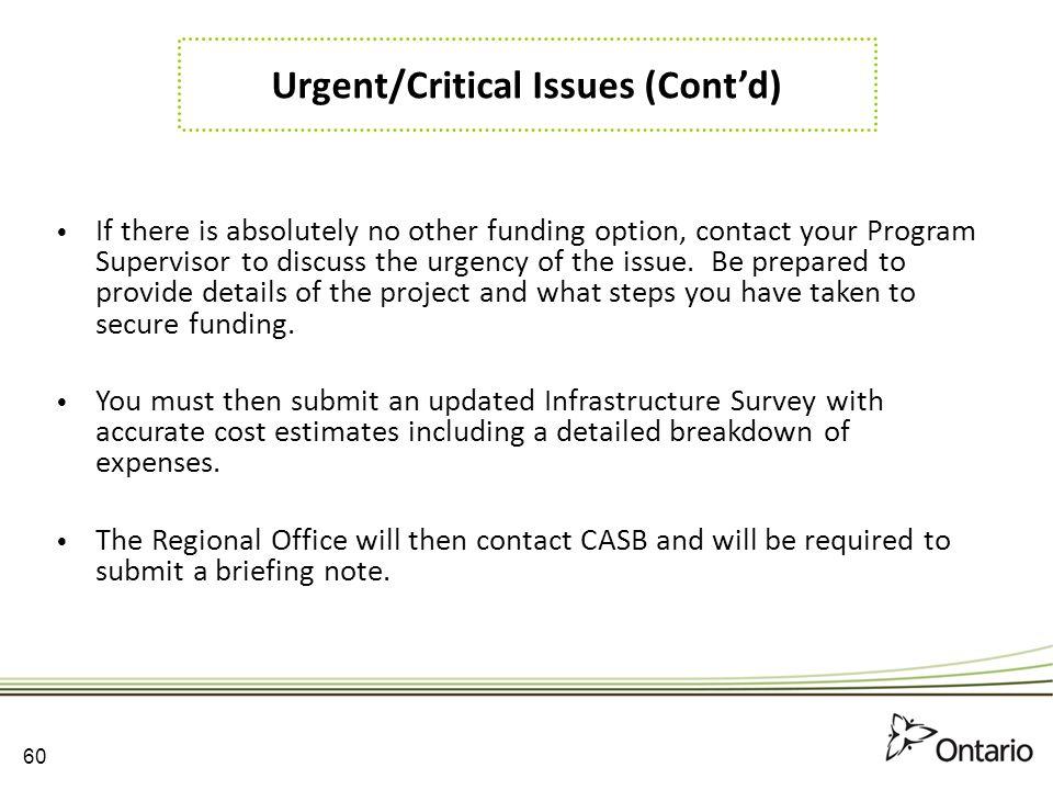Urgent/Critical Issues (Cont'd)