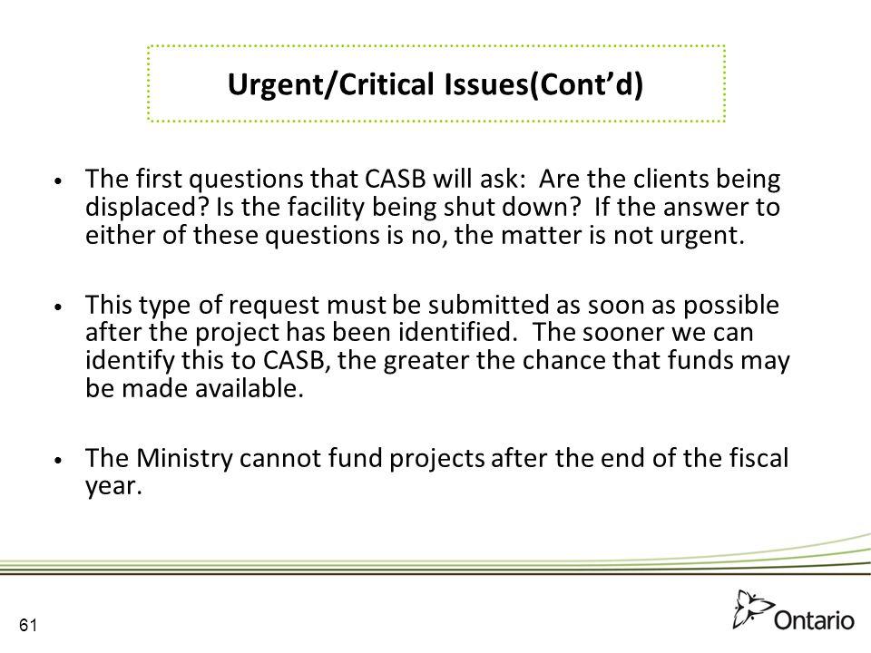 Urgent/Critical Issues(Cont'd)