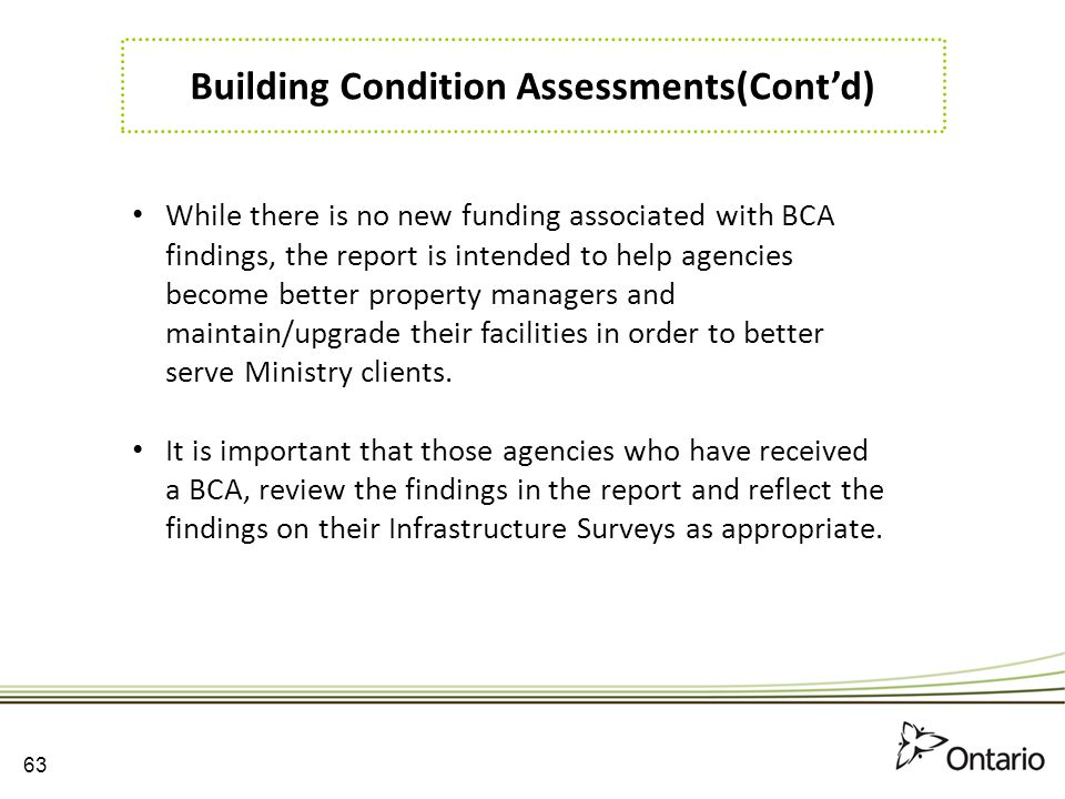 Building Condition Assessments(Cont'd)