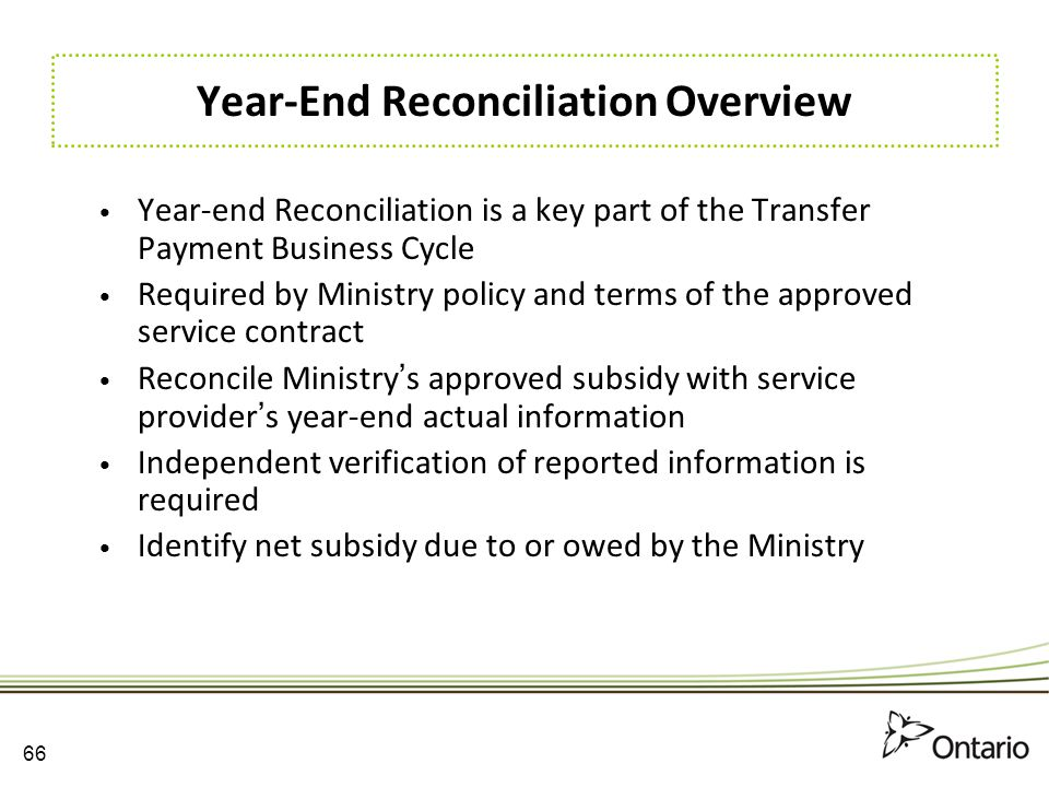 Year-End Reconciliation Overview