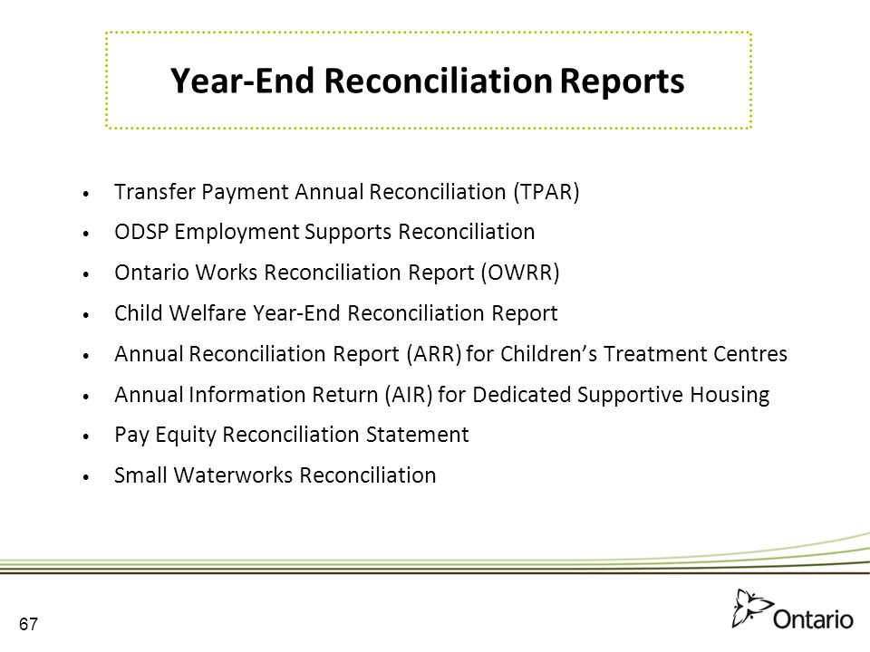 Year-End Reconciliation Reports