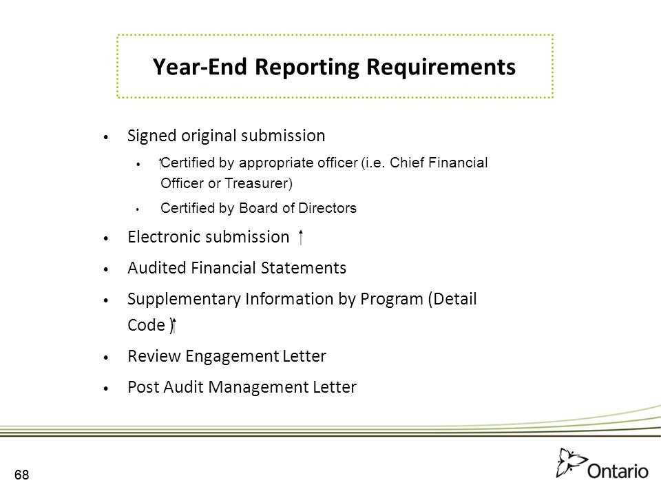 Year-End Reporting Requirements