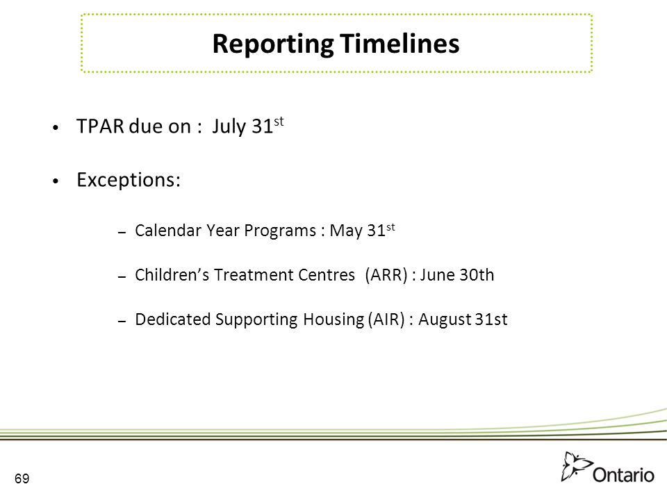 Reporting Timelines TPAR due on : July 31st Exceptions: