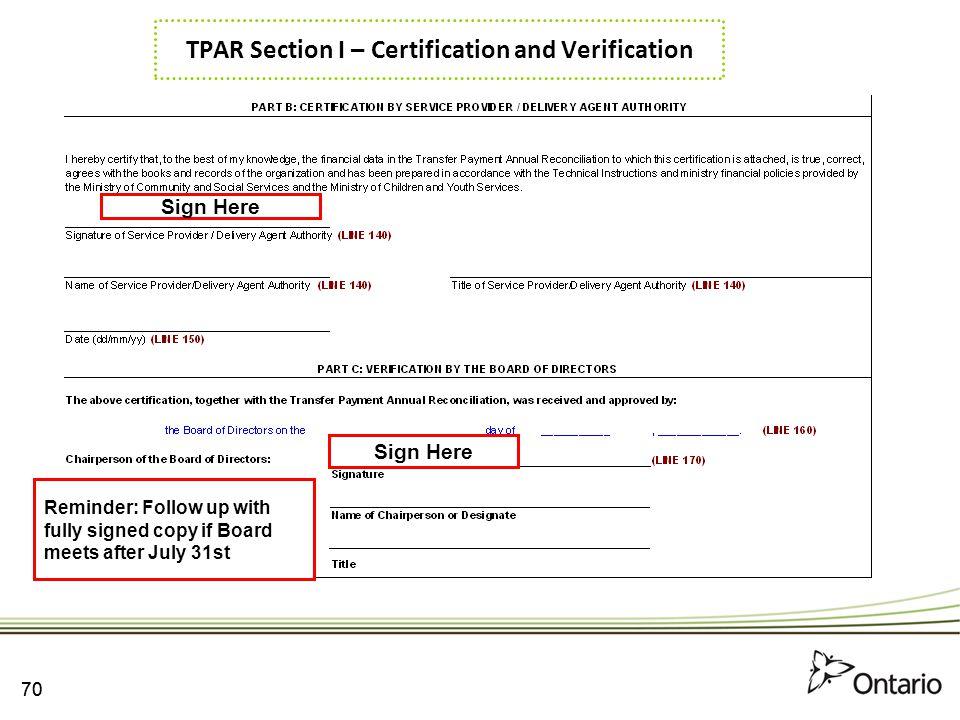 TPAR Section I – Certification and Verification