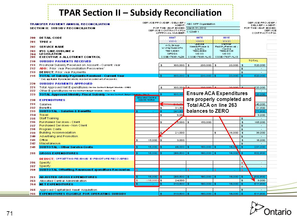 TPAR Section II – Subsidy Reconciliation
