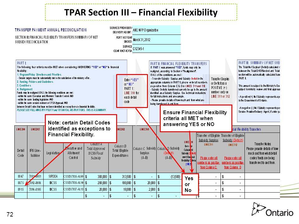 TPAR Section III – Financial Flexibility