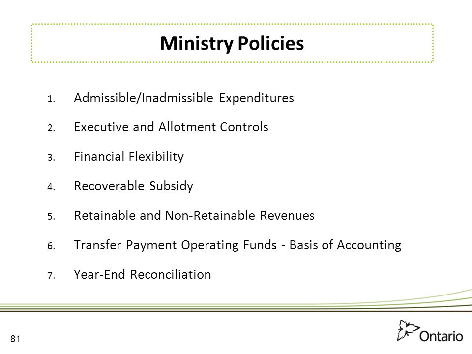 Ministry Policies Admissible/Inadmissible Expenditures