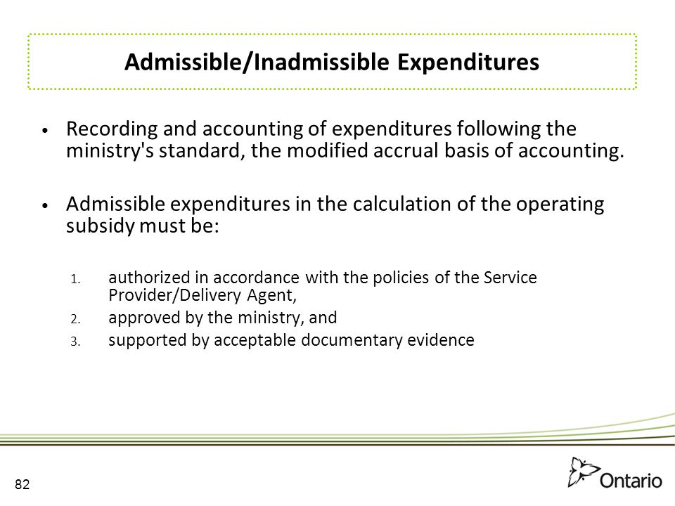 Admissible/Inadmissible Expenditures