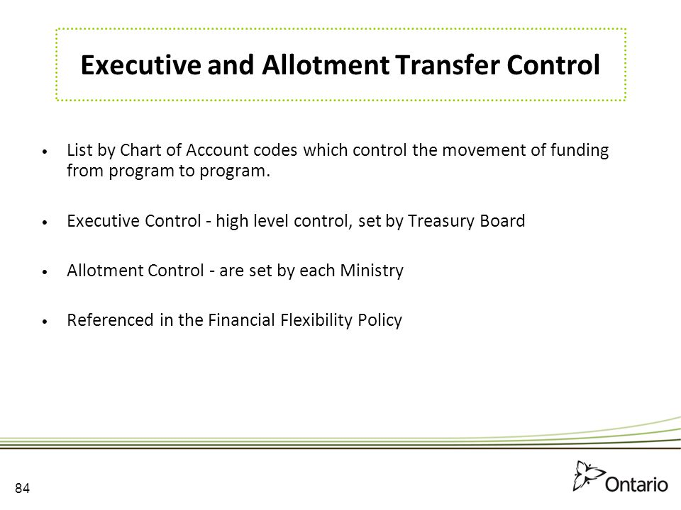Executive and Allotment Transfer Control