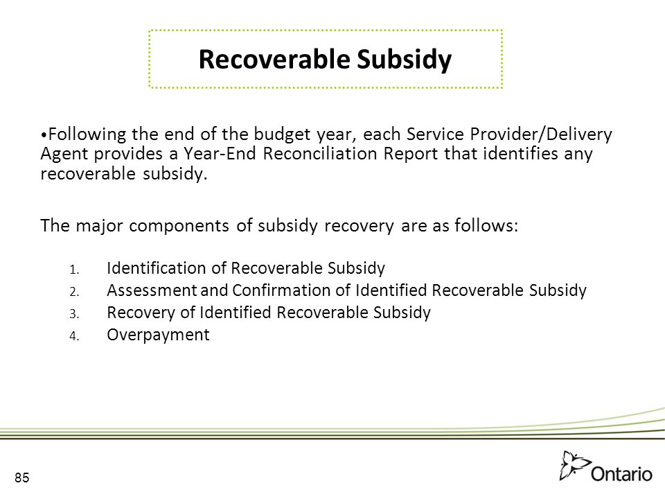 Recoverable Subsidy