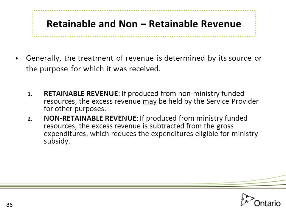 Retainable and Non – Retainable Revenue