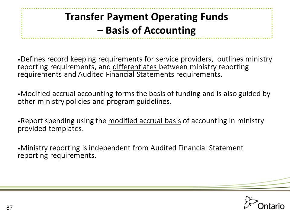 Transfer Payment Operating Funds – Basis of Accounting