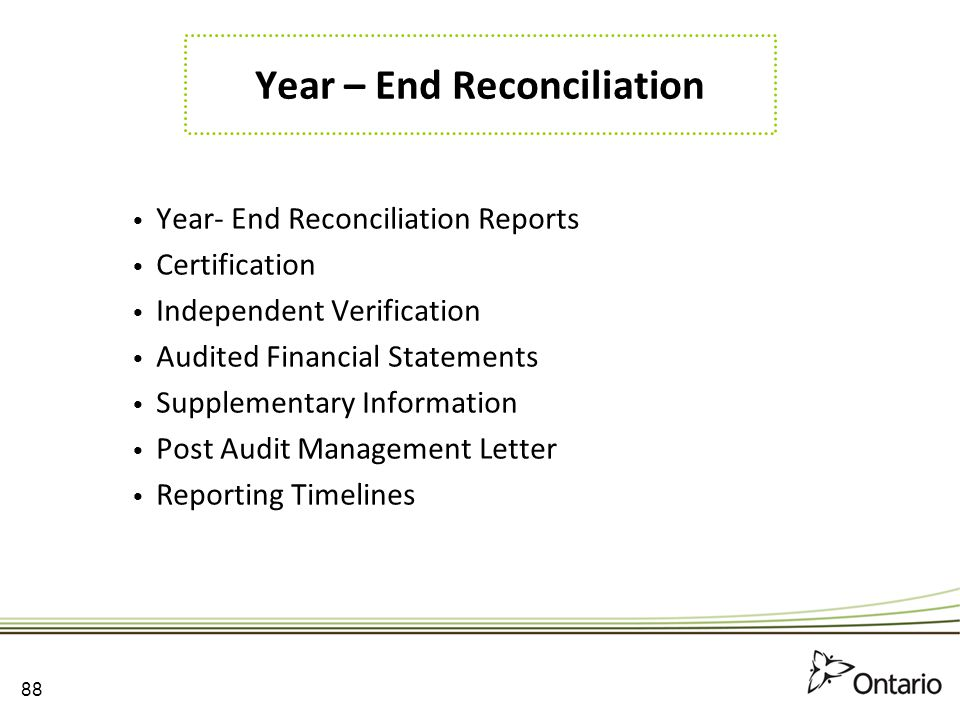 Year – End Reconciliation