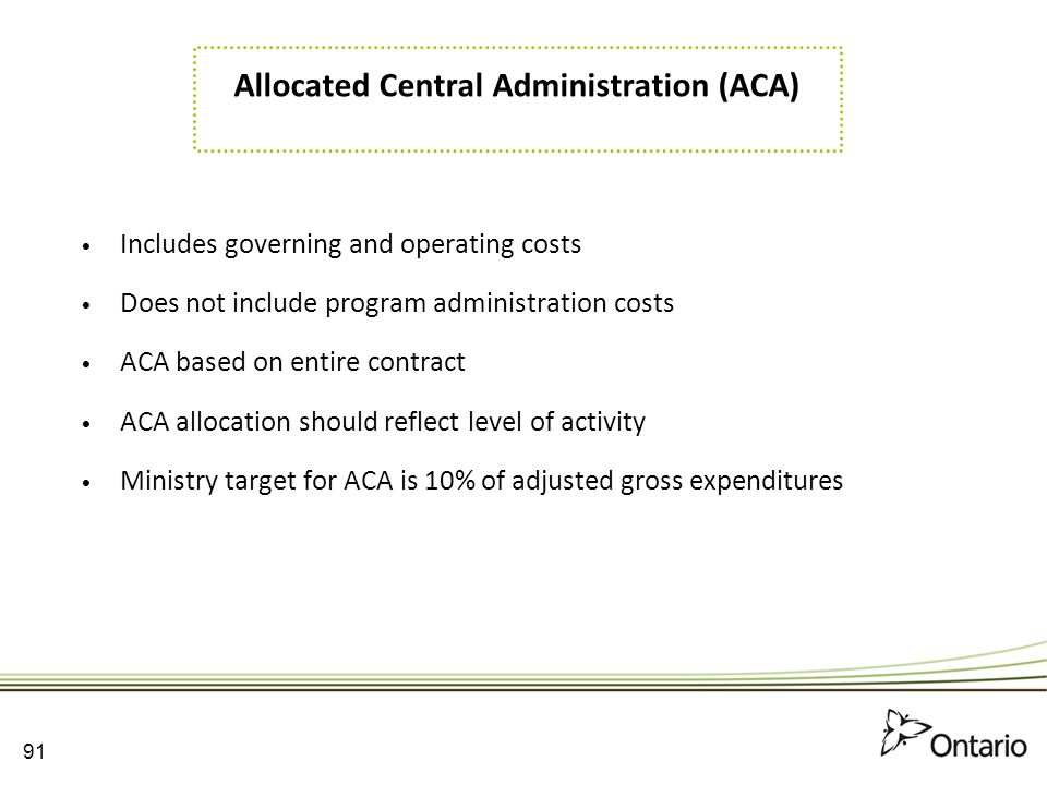 Allocated Central Administration (ACA)