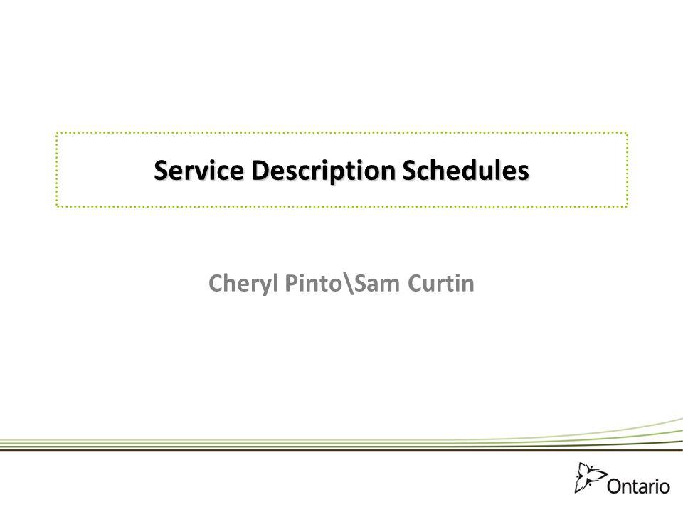 Service Description Schedules