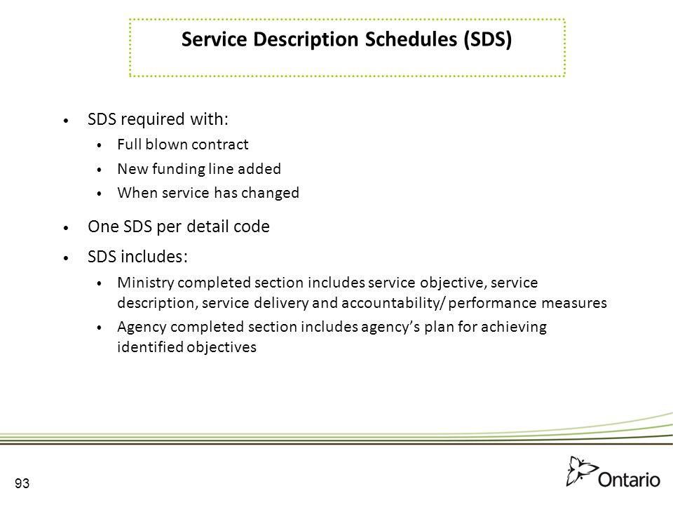 Service Description Schedules (SDS)