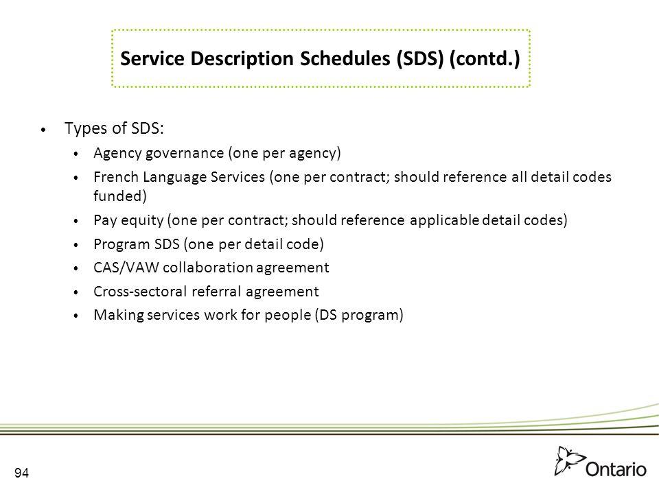 Service Description Schedules (SDS) (contd.)