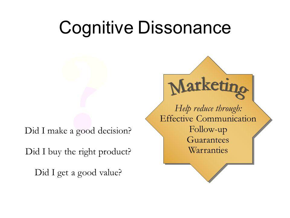 Cognitive Dissonance Marketing Help reduce through: