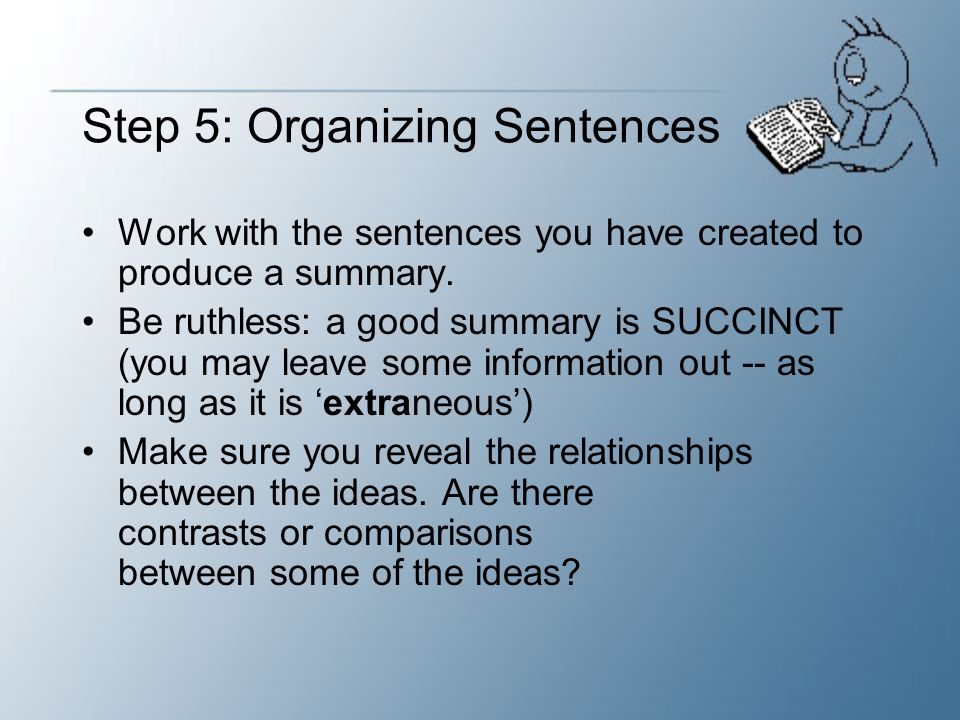 Step 5: Organizing Sentences