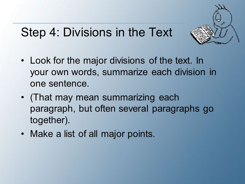 Step 4: Divisions in the Text
