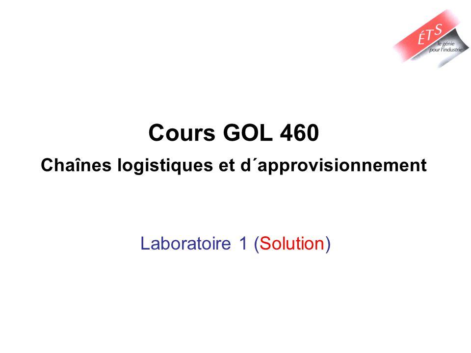 Cours GOL 460 Chaînes logistiques et d´approvisionnement