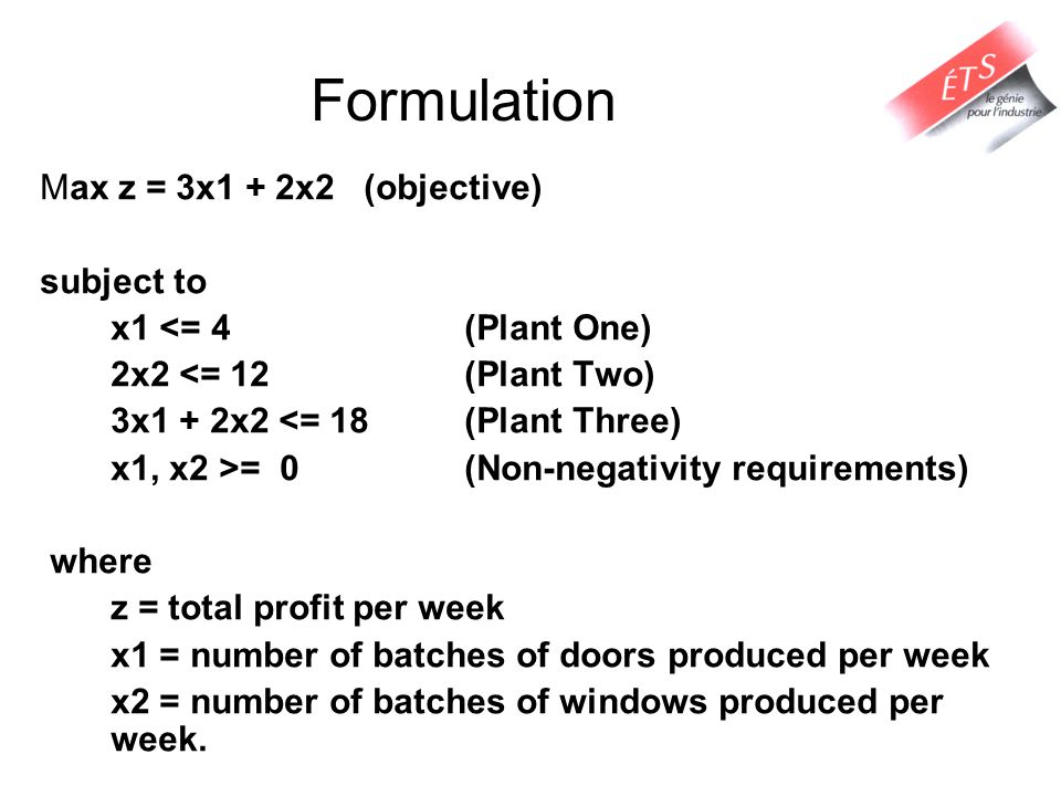 Formulation Max z = 3x1 + 2x2 (objective) subject to