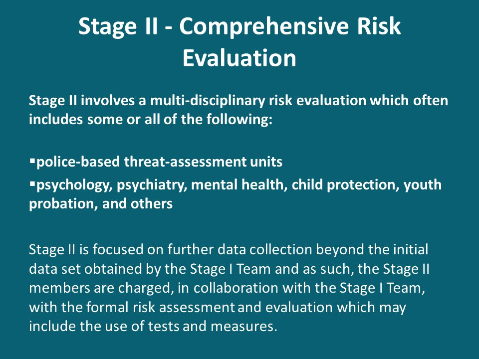 Stage II - Comprehensive Risk Evaluation