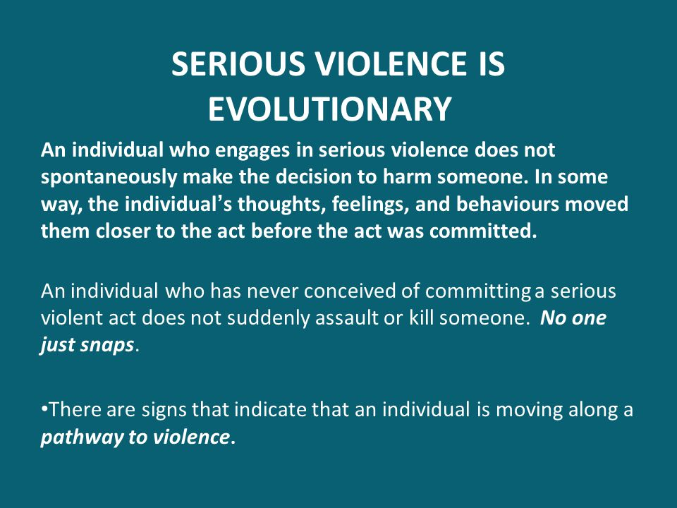 SERIOUS VIOLENCE IS EVOLUTIONARY