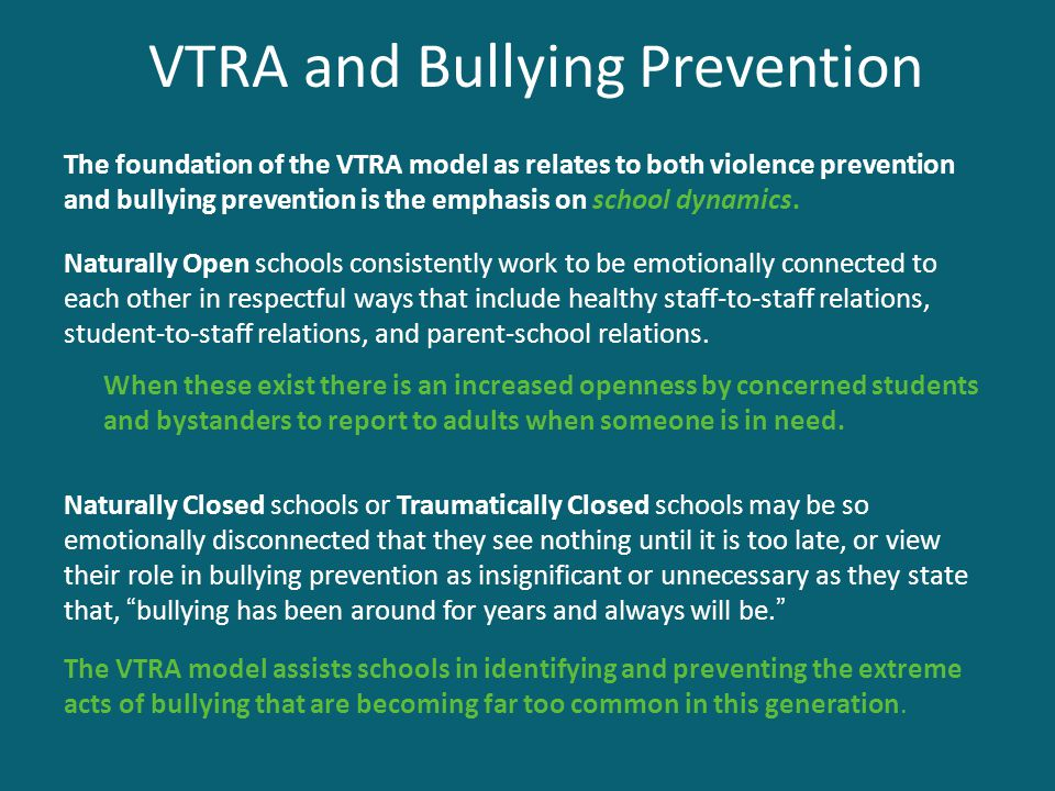 VTRA and Bullying Prevention