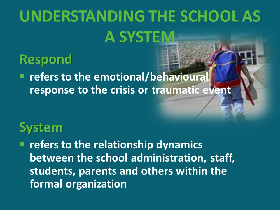 UNDERSTANDING THE SCHOOL AS A SYSTEM