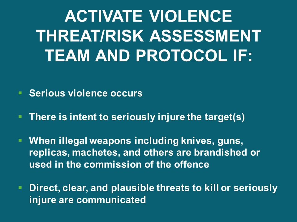 ACTIVATE VIOLENCE THREAT/RISK ASSESSMENT TEAM AND PROTOCOL IF: